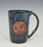 Pottery Mug with a Saying - Yin Yang - Blue - 14 oz.