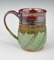 "Handmade Pottery Mug 4.5"" in Plum and Green 12 oz"