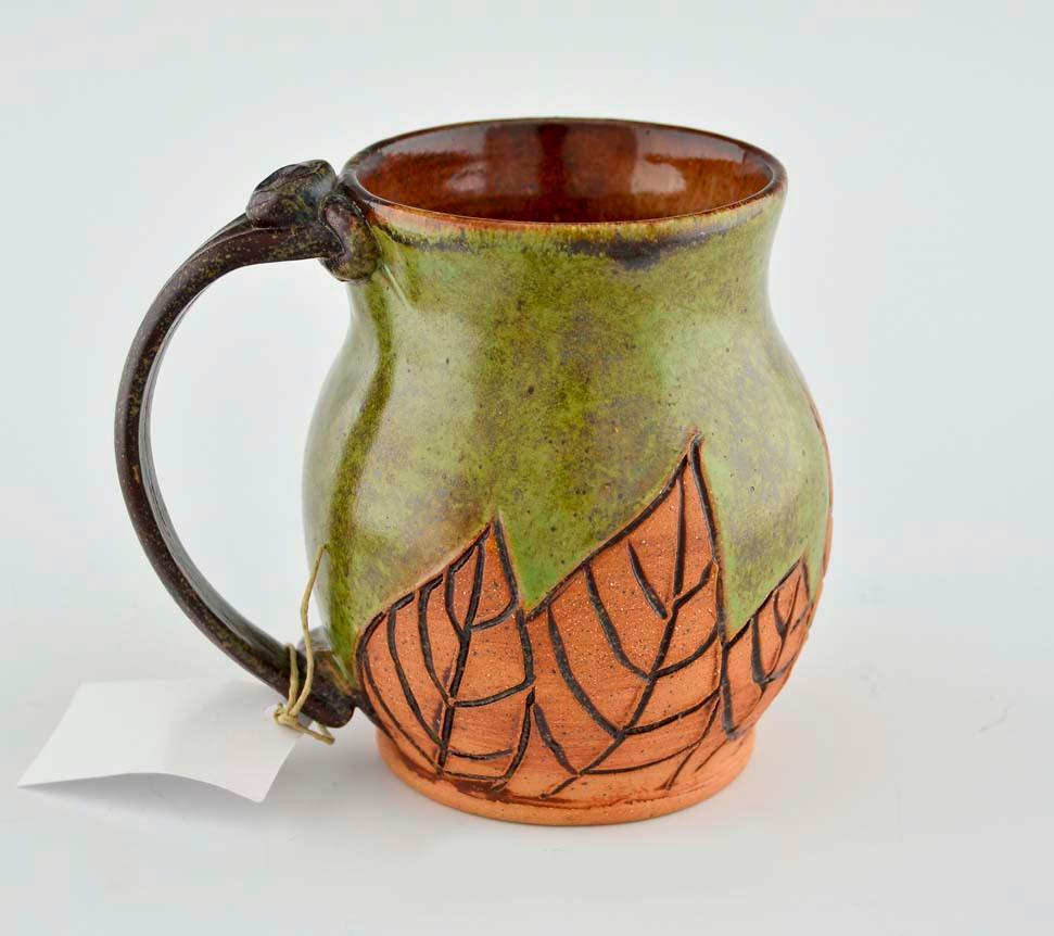Handmade pottery mug w saying green w leaves gifted for Clay mug ideas