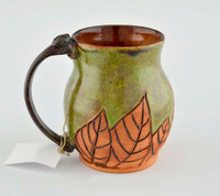 Pottery Mug with a Saying - Green with Hand Carved Brown Leaves 14 oz