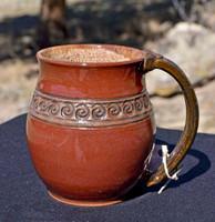 Pottery Mug with a Saying - Spiral Band Firebrick Red - 14 oz