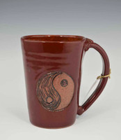 Pottery Mug w Saying - Yin Yang Symbol - Black - 14 oz
