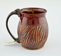 Pottery Mug with a Saying - Maroon Top Band and Brown Striped Base 14 oz