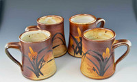 Set of 4 Handpainted Asian Motif Rust and Beige Mugs with Flowers 12 oz