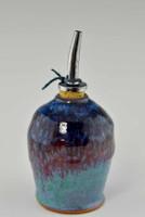 Handmade Pottery Oil Bottle in Fiesta Glaze