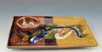 Handmade Pottery Sushi Plate w Attached Cup
