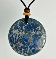 Rock Art Polished Stone Medallion, Magnesite, Blue, Gray