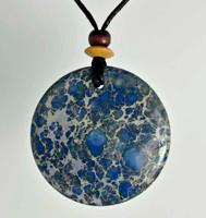 Rock Art Polished Stone Medallion, Magnesite, Blue, Gray