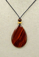 Rock Art Polished Stone Pendant Jewelry, Red Jasper Teardrop