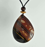 Rock Art Polished Stone Pendant Jewelry, Tiger Jasper, Brown, Black