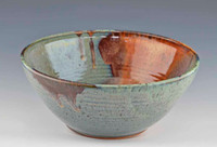 Handmade Pottery Large Serving Bowl Blue Green with Golden Brown