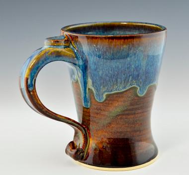 Handmade Stoneware Tall Coffee Mug in Ocean Blue Glaze