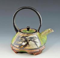 Handpainted Asian Motif Teapot Green with Black Handle