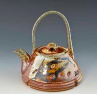 Handpainted Asian Motif Teapot Rust with Gray Handle