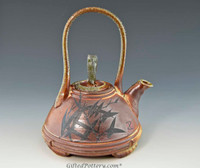 Handpainted Asian Motif Teapot Rust with Gray Handle 24001