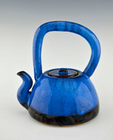 Handmade Pottery Teapot with 4 Cups in Blue with Black