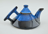 Art Deco Teapot with 4 Cups in Blue with Black