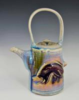 "Handmade Porcelain Teapot 10.5"" in Blue Crystal Glaze"