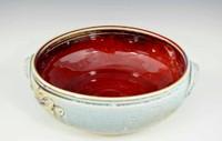"""Handmade Porcelain 10"""" Open Casserole in Crystal Blue Glaze"""