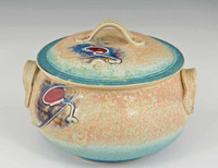 "Handmade Covered Porcelain 2 qt. Casserole 7.5"" in Crystal Blue Glaze"