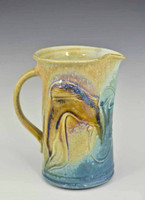 Hand Carved 6.5 inch Porcelain Pitcher in Blue Crystal Glaze