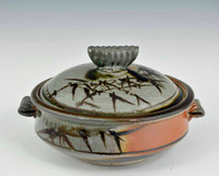 Handmade Handpainted Grey and Brown Covered Casserole Dish