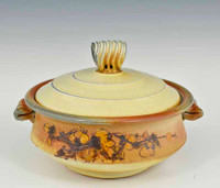Handmade Handpainted Ivory and Golden Sunset Covered Casserole
