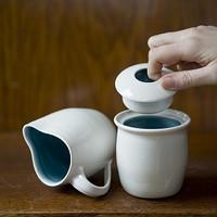 Handmade Porcelain White and Blue Cream and Sugar Set