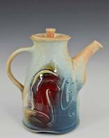 "Handmade Porcelain Teapot 7.5"" in Blue Crystal"
