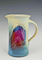 "Handmade Porcelain 7.5"" Pitcher in Blue Crystal Glaze"
