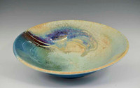 Handmade Porcelain 11 Inch Bowl in Blue Crystal