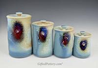 Handmade Porcelain 4 pc. Canister Set #2 Blue Crystal Glaze
