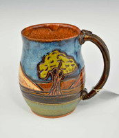 Pottery Mug with a Saying - Tree Landscape