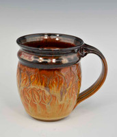 Carved Leaf Rounded Mug in Iron Red and Gold 14 oz