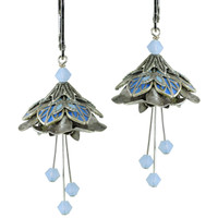 Flower Fairy Water Nymph Earrings - Silver and Blue