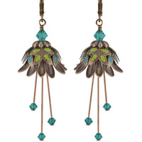 Flower Fairy Earrings - Daisy Oracle Gold, Lime and Teal