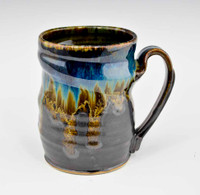 "Handmade Pottery Mug 4"" in Blue Graphite / Gold Glaze"