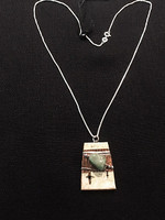 Green Turquoise, Sterling Silver and Birchbark 18 in. Necklace