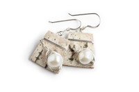 Tessoro White Freshwater Pearl, Sterling Silver, Birchbark Earrings