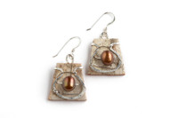 Tessoro Sterling Silver, Freshwater Pearl and Birchbark Earrings