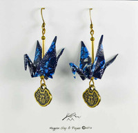 Shades of Blue Origami Crane Earrings with Good Luck Charm