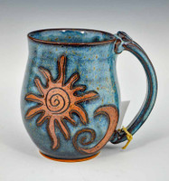 Handmade Pottery Mug with a Saying - Blue with Sun & Moon 14 oz
