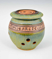 Handmade Pottery Banded Garlic Holder in Green