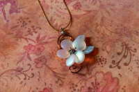 White Moonflower Necklace 17 in