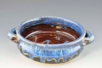 "Handmade Stoneware Baker with Handles 7"" Diameter in Ocean Blue Glaze"