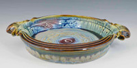 "Handmade Pottery Baking Dish 10"" diameter x 2"" deep w Handles"