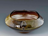 """Handmade Asian Style Brown and Olive """"Square"""" Bowl"""