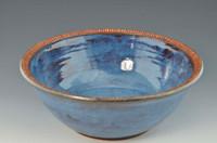 "Handmade Pottery 10.5"" Bowl in Smoky Bright Blue"