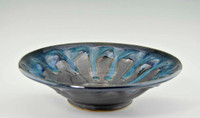 "Handmade Pottery Medium Kaleidoscope Bowl 11"" in Blue Graphite Glaze"