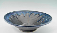 "Handmade Pottery Large Kaleidoscope Bowl 13"" in Graphite Glaze"